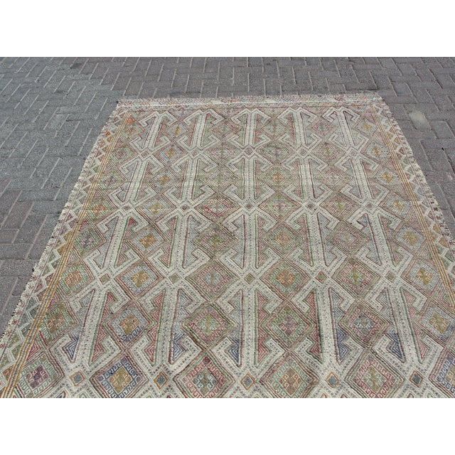 Vintage Turkish Kilim Rug - 5′7″ × 8′1″ For Sale - Image 9 of 11