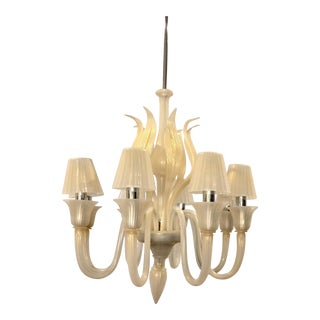 Murano Pearl White Glass Chandelier