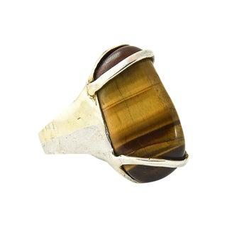 Modern Tiger's Eye & Sterling Silver Ring For Sale