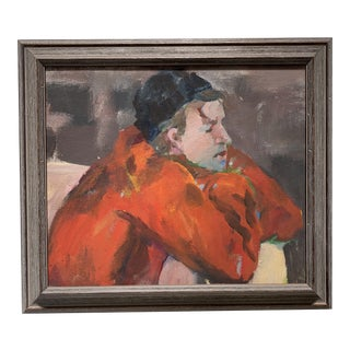 Mid-Century Resting Man Oil Study Painting For Sale
