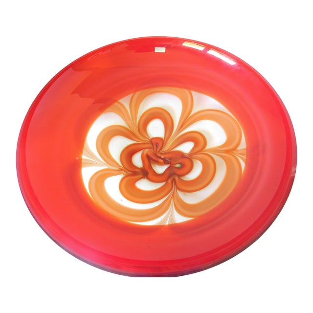 Evolution by Waterford Red Art Glass Round Platter For Sale