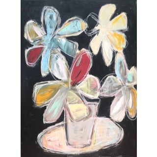 "Sarah Trundle, Abstract Floral Painting, ""Scrappy Flowers, IV"" For Sale"