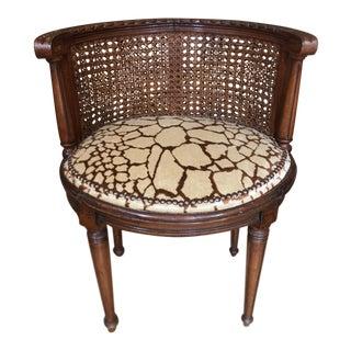 Antique Louis XVI Style Boudoir Chair - Scalamandre Velvet