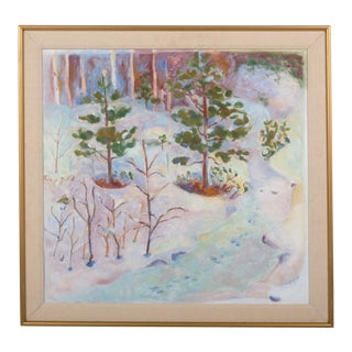 Colorful Impressionist Winter Landscape by Ulla Rusk For Sale
