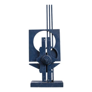 Modern Abstract Blue Monochrome Steel Sculpture For Sale