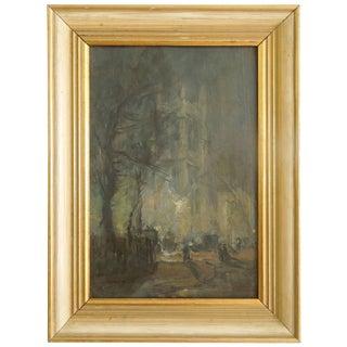 W. Heath Wilson British Painting Early 1900s London Evening Scene For Sale