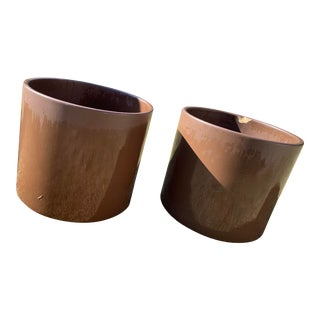 Mid Century Brown Glazed Gainey Pots- A Pair For Sale