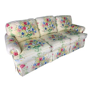 Floral Upholstered Sofa by Sherrill For Sale