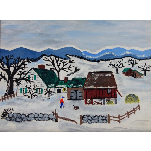 This is a charming naive folk art painting depicting a winter homestead scene. This painting is reminiscent of the works...