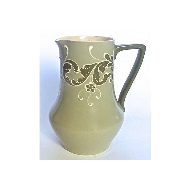 Antique; 19th century, English, Esso Faience, ceramic, leaf pitcher with handle and spout. Handcrafted abstract and...