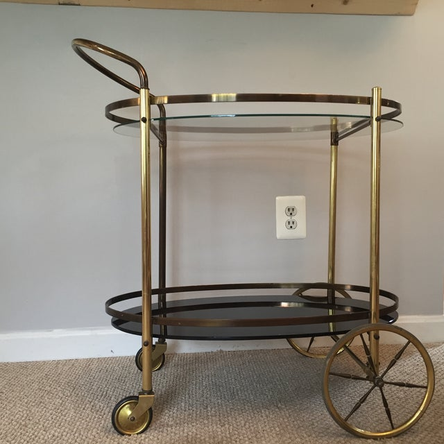 Hollywood Regency Two-Tiered Bar Cart - Image 2 of 4