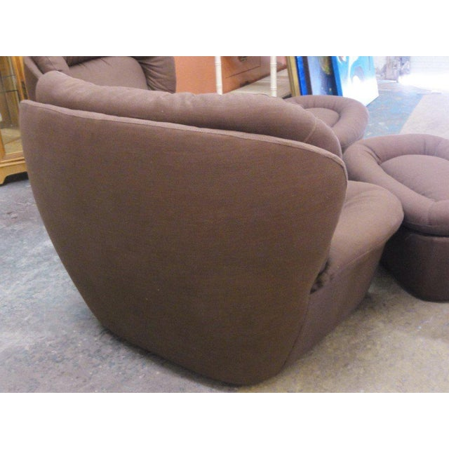 Newly Upholstered Brown Modern Lounge Chairs - a Pair - Image 3 of 5