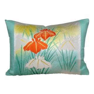 Japanese Iris Silk Kimono Lumbar Pillow Cover For Sale