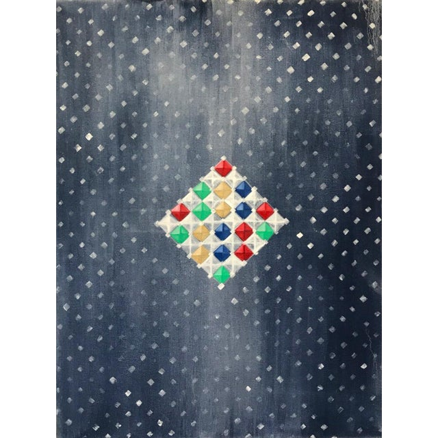 Blue Multi-Colored Geometric Diamond Oil Painting For Sale - Image 8 of 8