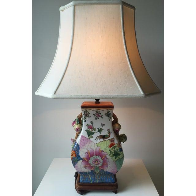 Vintage Porcelain Tobacco Leaf Lamp For Sale In New York - Image 6 of 11