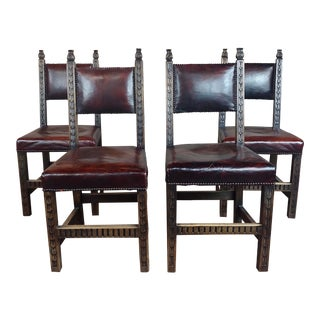 Vintage Renaissance Carved Oak W/Wine Leather Seat Chairs - Set of 4 For Sale