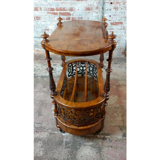 19th c. Georgian Carved Burl Wood Library Book Stand & Magazine rack For Sale - Image 9 of 12