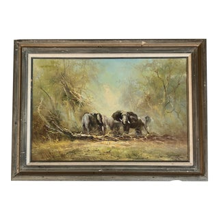 Original Vintage Impressionist Elephant in Brush Painting by Listed Chinese Artist C.L.Fong For Sale