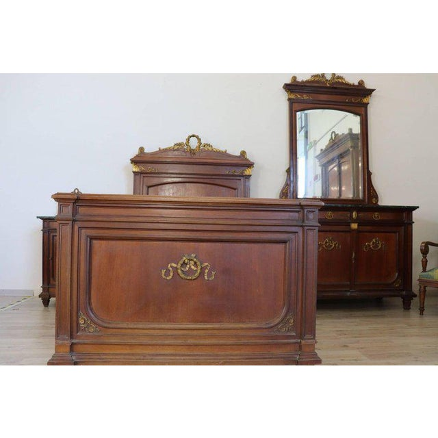 19th Century Italian Empire Mahogany Golden Bronzes Green Marbles Bedroom Set For Sale - Image 9 of 13