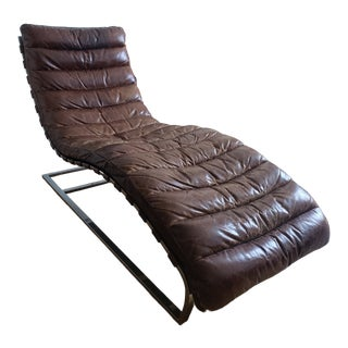 Early 21st Century Vintage Restoration Hardware Oviedo Leather Chaise For Sale