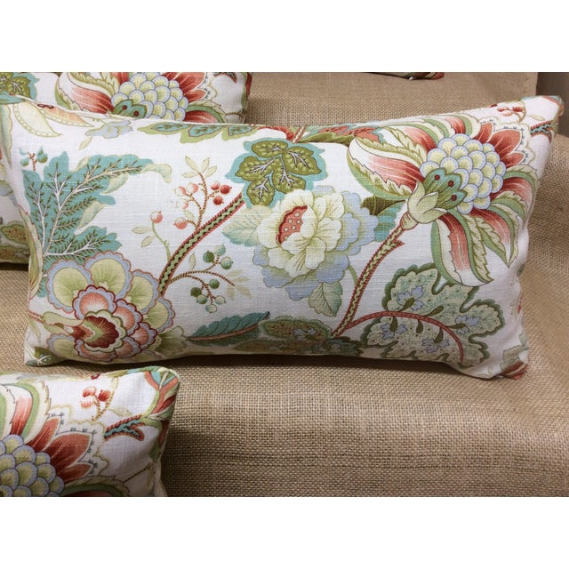 Beautiful new Floral pillow in Linen/Rayon. Fabric colors are Reds, Blues, Greens, and Gold on a cream white background....