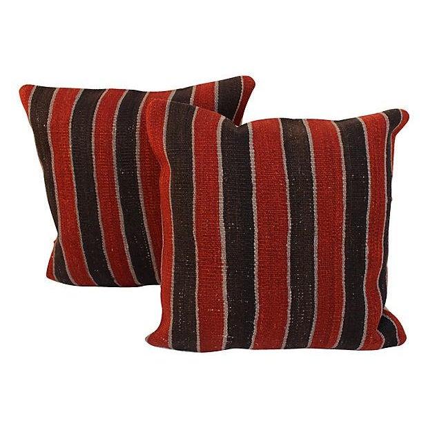 Striped Turkish Kilim Pillows - A Pair - Image 1 of 4