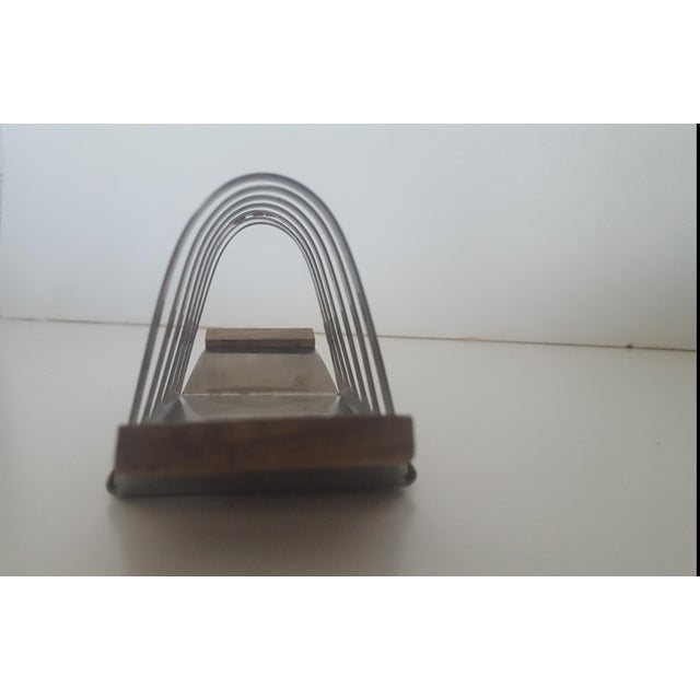 Metal Mid Century Stainless Steel and Rosewood Toast Rack Holder For Sale - Image 7 of 11