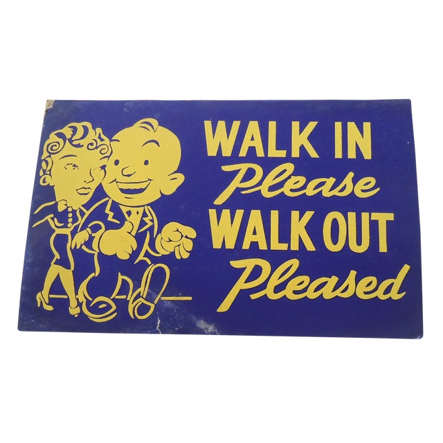 """40s """"Walk In"""" Shop Sign - Image 1 of 2"""
