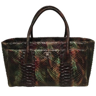 Chanel Green and Brown Multicolor Python Snakeskin Cerf Tote Handbag For Sale