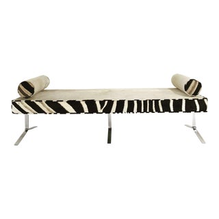 Modern Chrome Bench in Ivory Cowhide & Zebra Hide For Sale