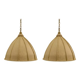 Currey & Co. Transitional Cream Iron Fenchurch Pendants Pair For Sale