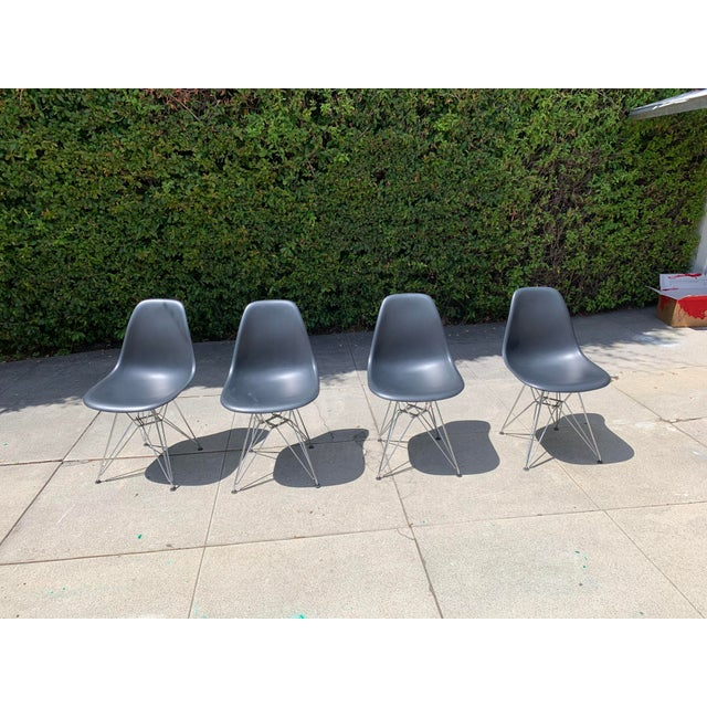 Black Eames Molded Plastic Side Chairs- Set of 4 For Sale - Image 9 of 9