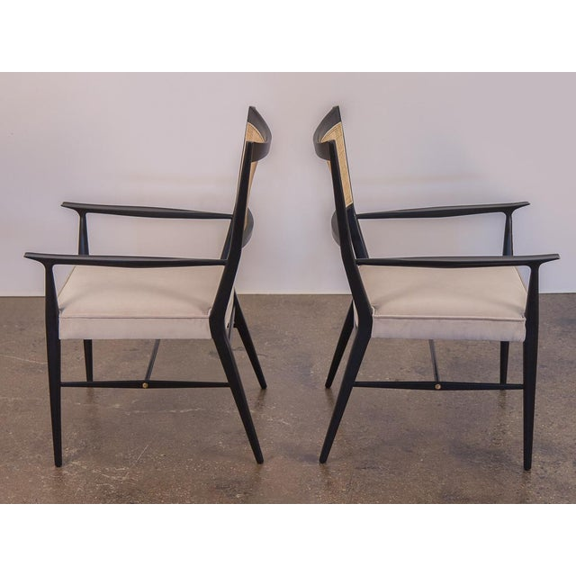 Mid-Century Modern Paul McCobb Ebonized Occasional Chairs - a pair For Sale - Image 3 of 10