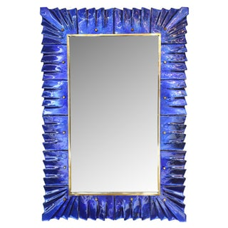Baroque Cobalt Blue Murano Glass Mirror For Sale