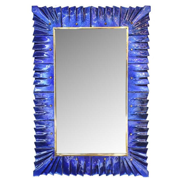 Baroque Cobalt Blue Murano Glass Mirror For Sale