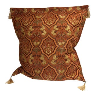 Authentic Kilim Motif Mustard Pillow Cover For Sale