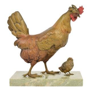 Franz Bergman Cold Painted Vienna Bronze Chicken Hen W Chick Signed For Sale