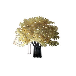Tree Swing Petite Brass and Nail Wall Sculpture For Sale