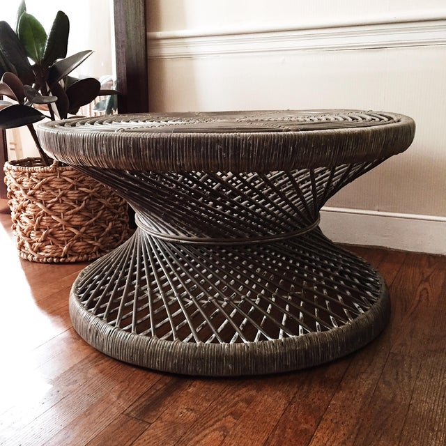 Rattan Round Rattan Woven Coffee Table For Sale - Image 7 of 7