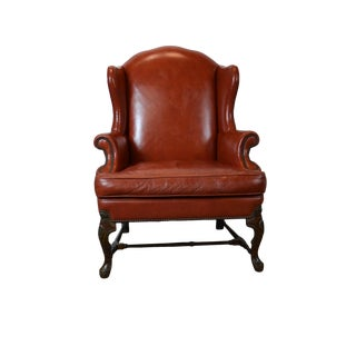 Late 20th Century Leather Wingback Chair For Sale