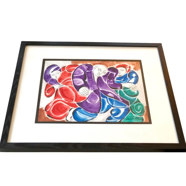 Mid-Century Modern Three Figures Painting For Sale - Image 10 of 12