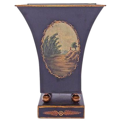 Antique Tole Scenic Tapered Cachepot - Image 1 of 5