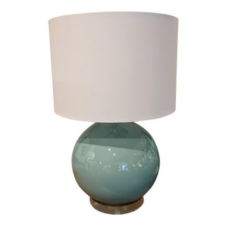 Contemporary Round Celedon Table Lamp For Sale