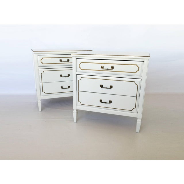 Pair Lacquered French Regency Bachelor Nightstands For Sale - Image 10 of 10
