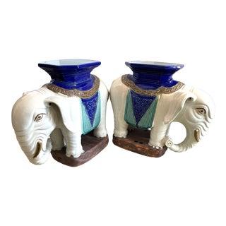 Antique Terra Cotta Elephant Garden Seats, A-Pair For Sale