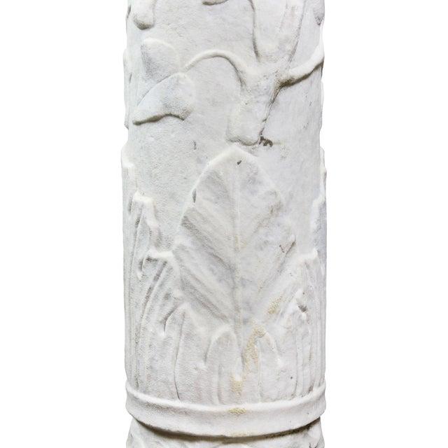 Stone Italian Carrara and Antico Verde Marble Column For Sale - Image 7 of 10