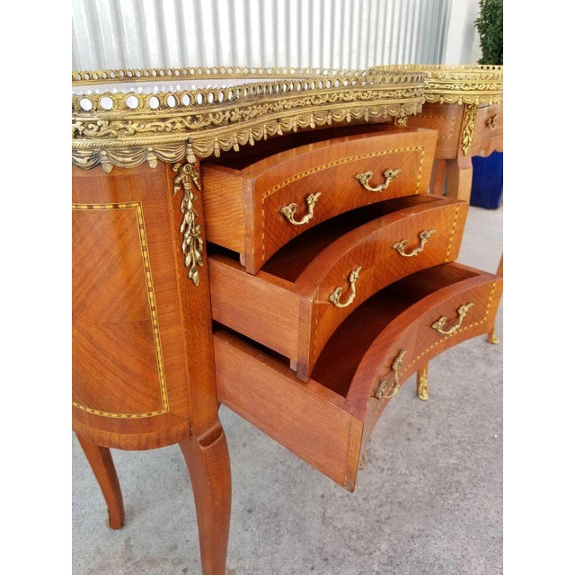 Louis XV Style End Marble Top Tables or Nightstands - a Pair For Sale - Image 5 of 7