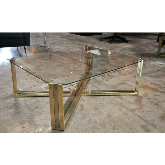Italian Italian Coffee Table Brass and Steel, 1960s For Sale - Image 3 of 9