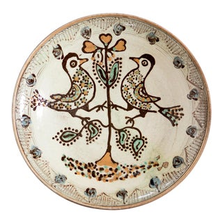 Ivory Ceramic Decorative Serving Bowl With Hand-Painted Birds