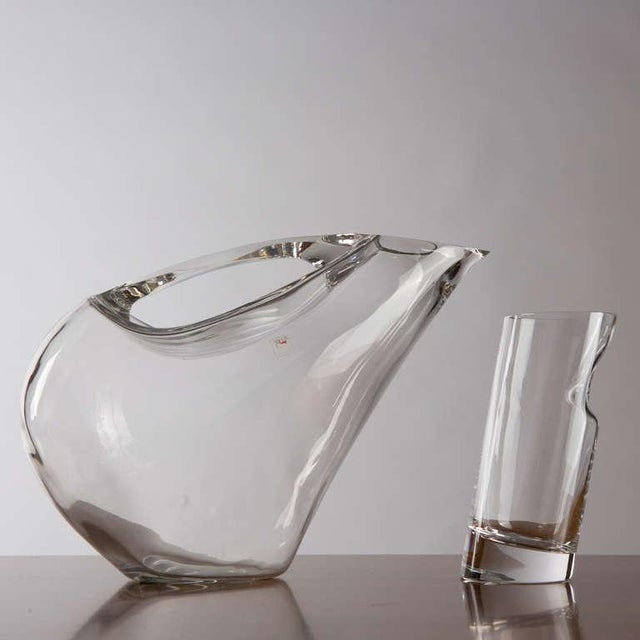 Modern Crystal Pitcher and Glasses by Angelo Mangiarotti For Sale - Image 3 of 9